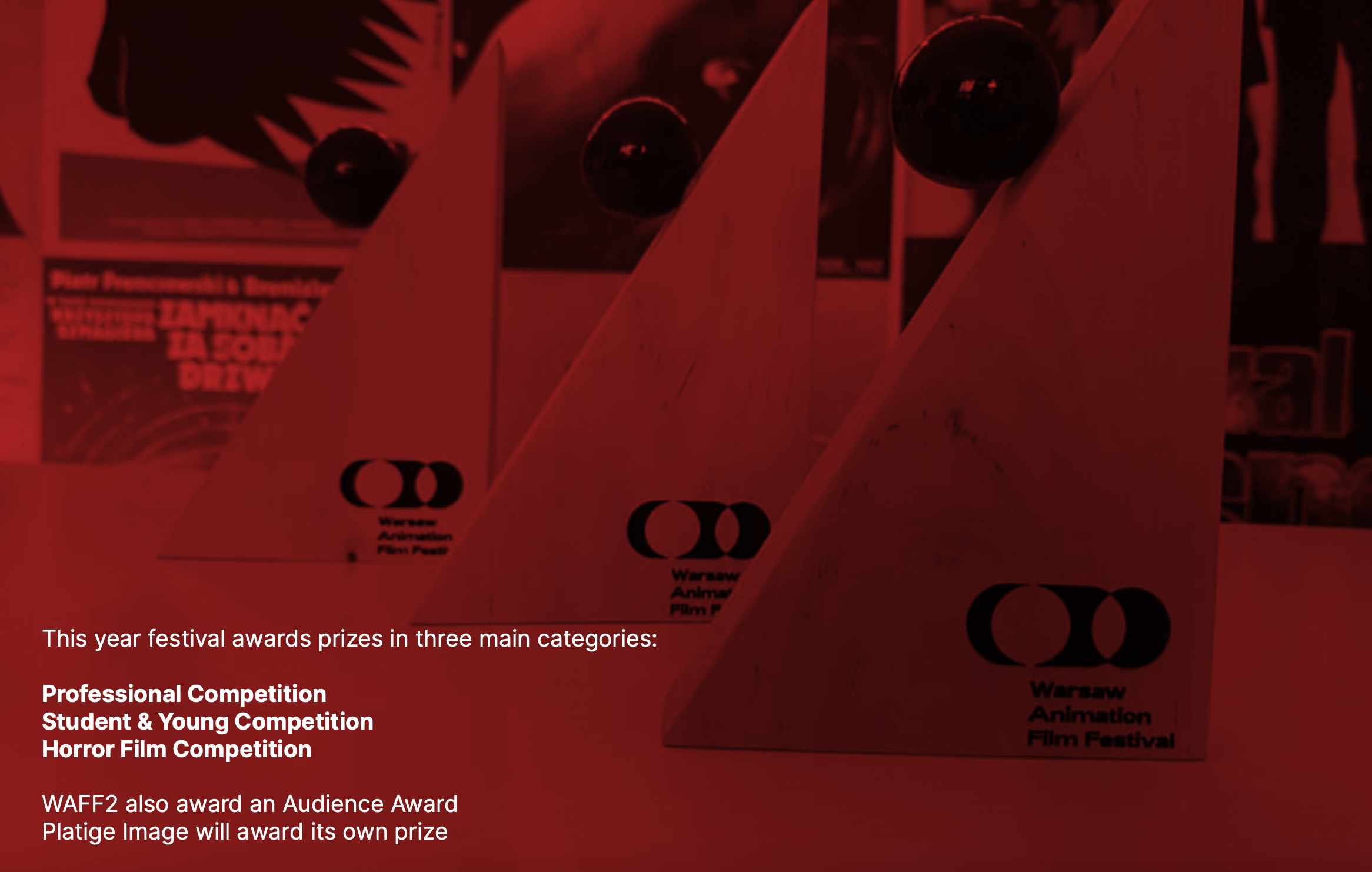 This year festival awards prizes in three main categories: Professional Competition Student & Young Competition Horror Film Competition WAFF2 also award an Audience Award Platige Image will award its own prize